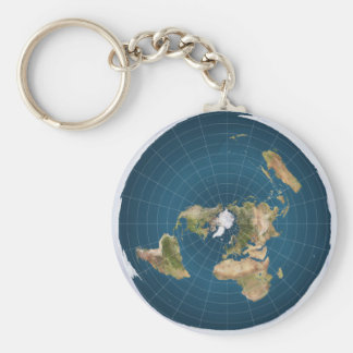 Flat Earth AE Azimuthal Equidistant Map Key Chain