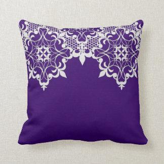 Fleur De Lace Purple Pillow Throw Cushions