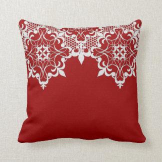 Fleur De Lace Red Pillow Cushion