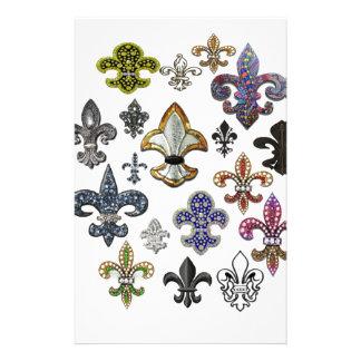 Fleur De Lis Flor  New Orleans Jewel Sparkle Customized Stationery