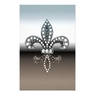 Fleur De Lis Flor  New Orleans Silver Black Customized Stationery