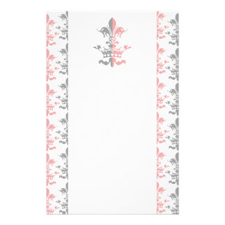 Fleur Heart Crown - Pink Personalized Stationery