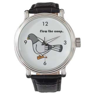 Flew the Coop Gray Pigeon Cartoon Wrist Watch