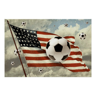 Flight of the Soccer Balls US flag Soccer Futebol Poster