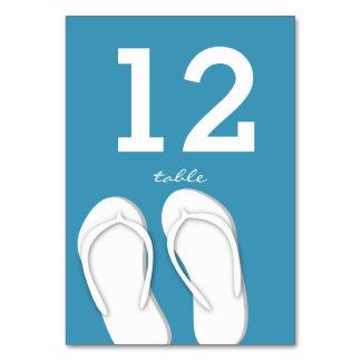Flip Flops Blue Table Number Card Table Cards