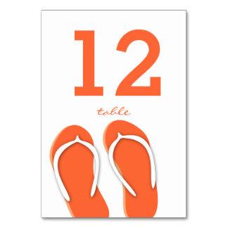 Flip Flops Orange Table Number Card Table Cards