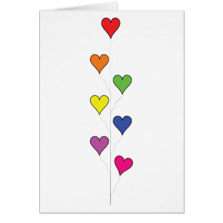 Floating Balloon Hearts Tall - Note Card