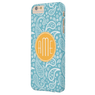Floral Aqua Blue Paisley Pattern & Yellow Monogram Barely There iPhone 6 Plus Case