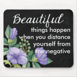 Floral Attitude Quote Purple Flower Chalkboard Mouse Pad
