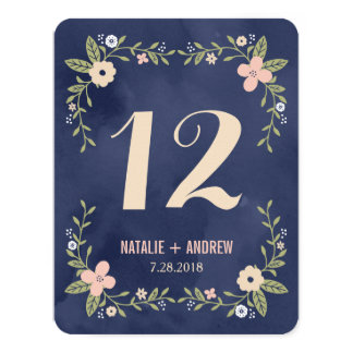 Floral Beauty Double Sided Table Number Card 11 Cm X 14 Cm Invitation Card