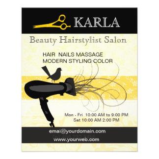 Floral Bird Beauty Salon  Spa Hair Stylist 11.5 Cm X 14 Cm Flyer