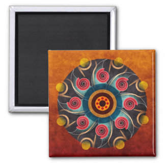 Floral Color Abstract Vector Art Square Magnet