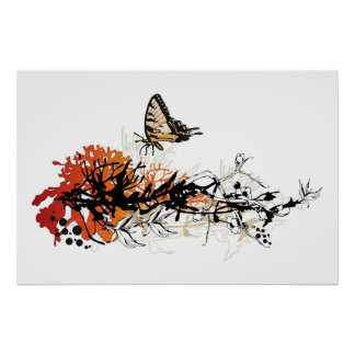 floral design with butterfly poster