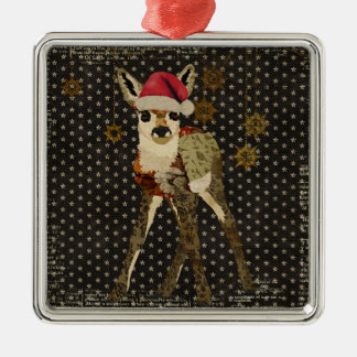 Floral Fawn Christmas Black Stars Ornament