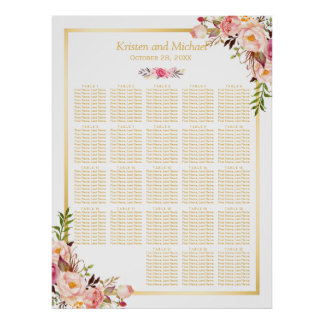 Floral Gold   20+ Tables Wedding Seating Chart Poster