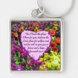 FLORAL JEREMIAH 29:11 PHOTO DESIGN Silver-Colored SQUARE KEY RING