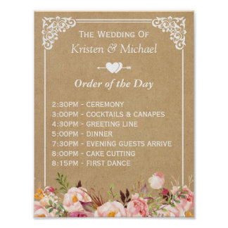 Floral Kraft Wedding Sign for Order of the Day Poster