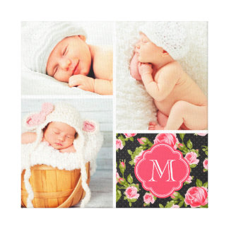 Floral Monogram Baby Photo Collage Nursery Art Stretched Canvas Print