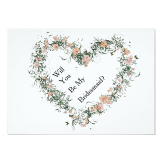 Floral Pattern Heart Will You Be My Bridesmaid 13 Cm X 18 Cm Invitation Card