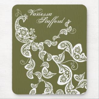 Floral Peacock Pattern White Custom Gift Mousepad