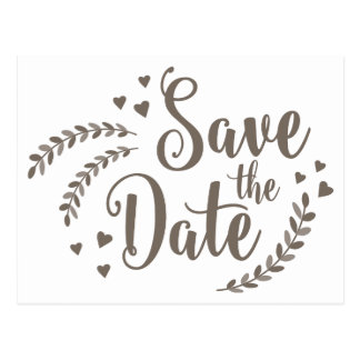 Floral Slate Gray Save The Date Wedding Hearts Postcard