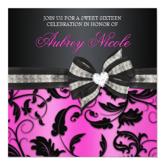 Floral Swirl Sweet Sixteen Invite With Jeweled Bow