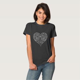 Floral Swirls Heart Illustration White Glitter Shirts