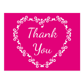 Floral Thank You Hot Pink and White Heart Postcard
