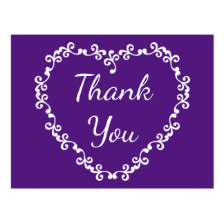 Floral Thank You Purple and White Heart Postcard
