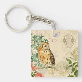 Floral vintage owl key ring with beautiful roses Double-Sided square acrylic key ring