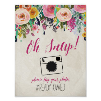 Floral Watercolor flowers Wedding Hash Tag Sign Poster