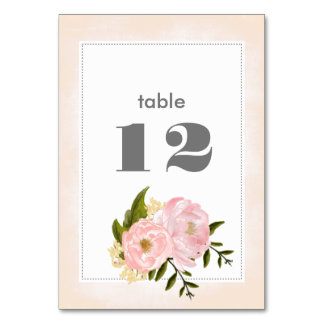 Floral Watercolor Wedding Table Number Cards Table Card