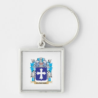 Florence Coat of Arms - Family Crest Silver-Colored Square Key Ring