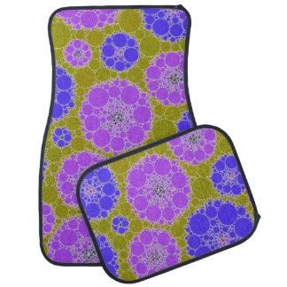 Florescent Blue Green Abstract Flowers Floor Mat