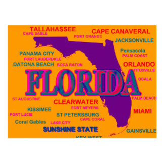 Florida State Pride Map Silhouette Postcard