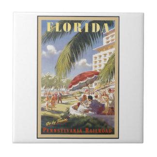 Florida Vintage Travel Small Square Tile