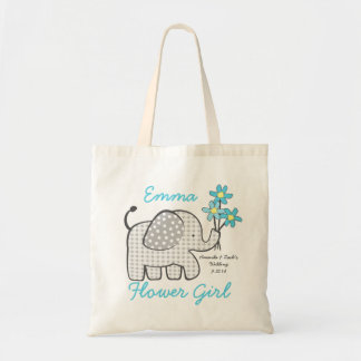 Flower Girl Gingham Elephant with Bouquet Blue Budget Tote Bag