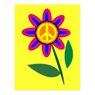 Flower of Peace - Peace Sign Pop Art Postcard