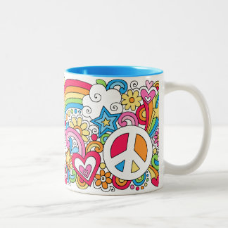 Flower Power Peace Love & Happiness Rainbow Mug ♥