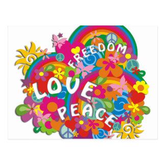 Flower Power Rainbow Postcard