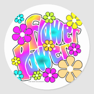 Flower Power Round Sticker