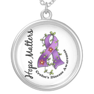 Flower Ribbon 4 Hope Matters Crohn's Disease Round Pendant Necklace