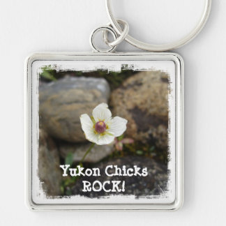 Flower w Soft Rock Background; Yukon Chicks ROCK Silver-Colored Square Key Ring