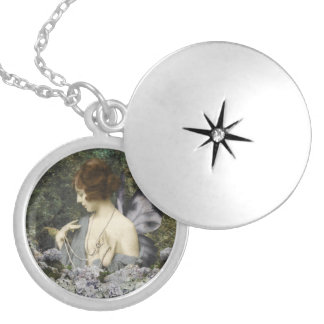 Flowers and Pearls Round Locket Necklace