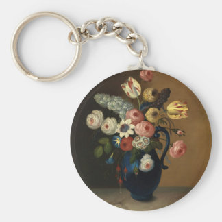 Flowers in a blue jug basic round button key ring