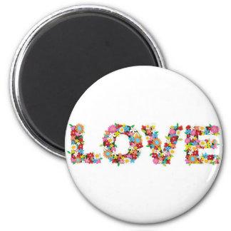 flowers of love 6 cm round magnet