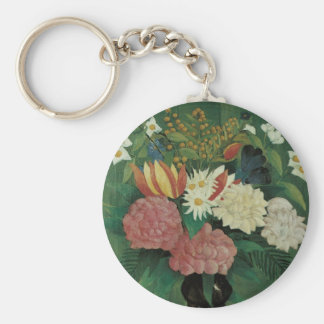 Flowers with Ivy by Henri Rousseau, Vintage Floral Basic Round Button Key Ring