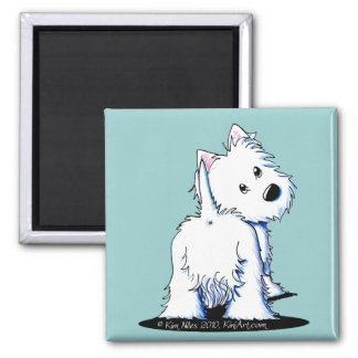 Fluffy Butt Westie Square Magnet