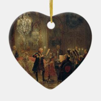 Flute Concert with Frederick the Great Sanssouci Ceramic Heart Decoration