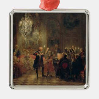 Flute Concert with Frederick the Great Sanssouci Silver-Colored Square Decoration